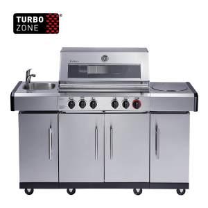 4 burner gas bbq + side and back burner - kansas 4 sif profi turbo