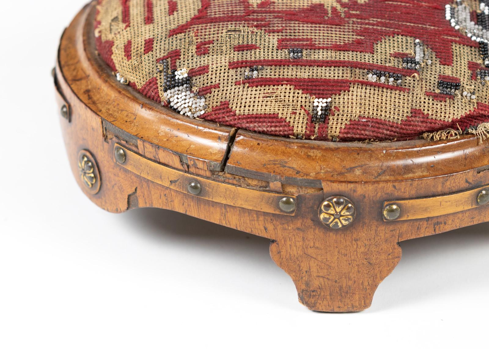 https www gardencourtantiques com shop round vintage foot stools 1800s