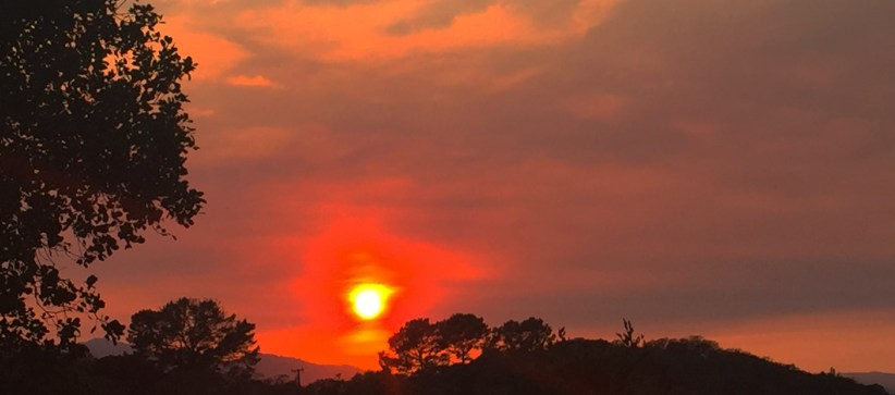 Sonoma and Napa Fires are the backdrop of this firey sunset in Novato