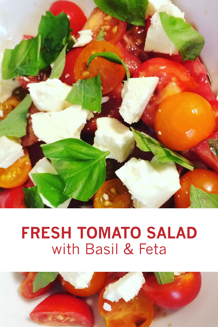 Fresh Tomato Salad with Basil and Feta --- A simple, light salad to use your homegrown tomatoes in, paired with feta and fresh basil leaves. Easy to make and delicious!