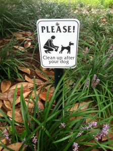 Clean up after your dog garden signs