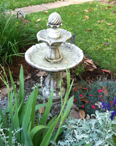Pinks to the right of the bird bath