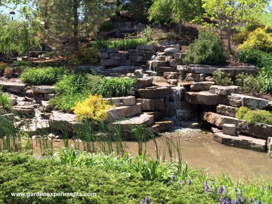 Man-made waterfall and pond