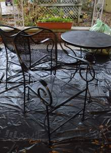Trash bags were used to cover the concrete