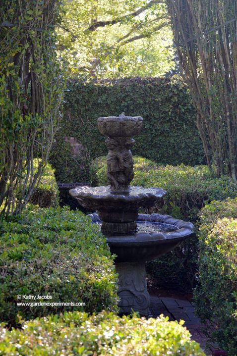 Fountain in the middle of the boxwood maze at Colonnade Garden