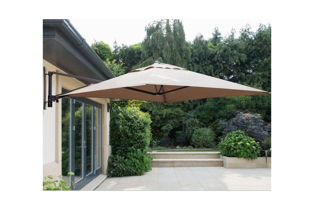 square wall mounted parasol beige