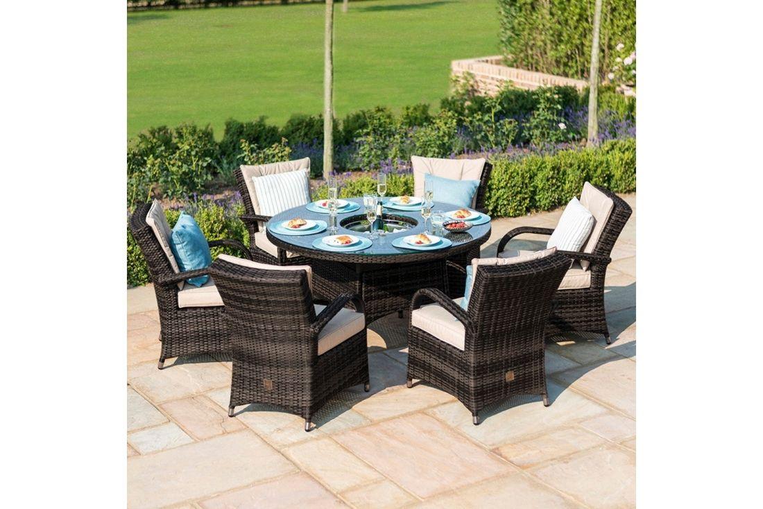 texas 6 seater round dining set outdoor rattan garden furniture