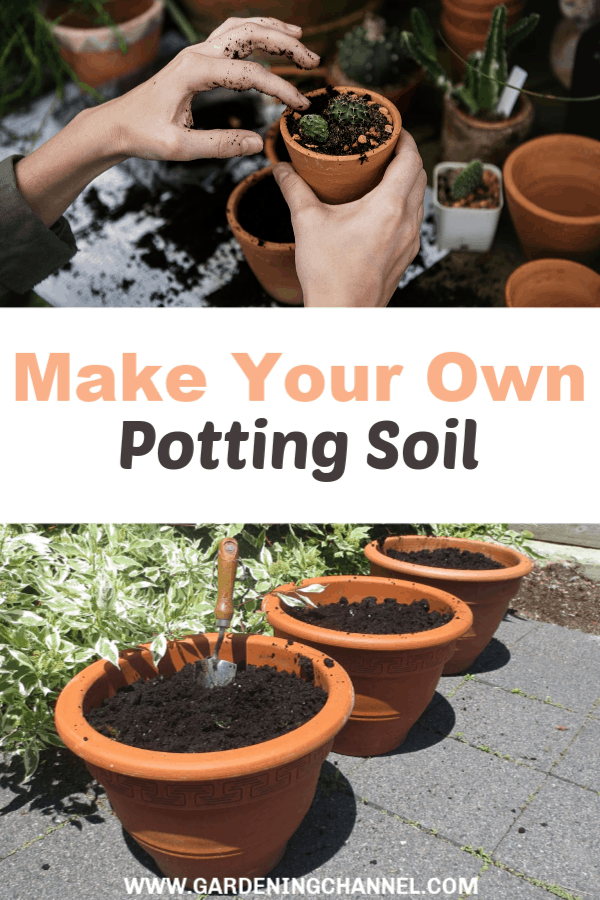 repotting small plants and organic potting soil with text overlay make your own potting soil
