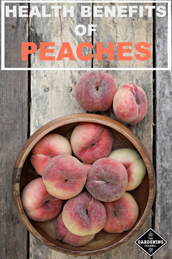 peaches on wooden table with text overlay health benefits of peaches