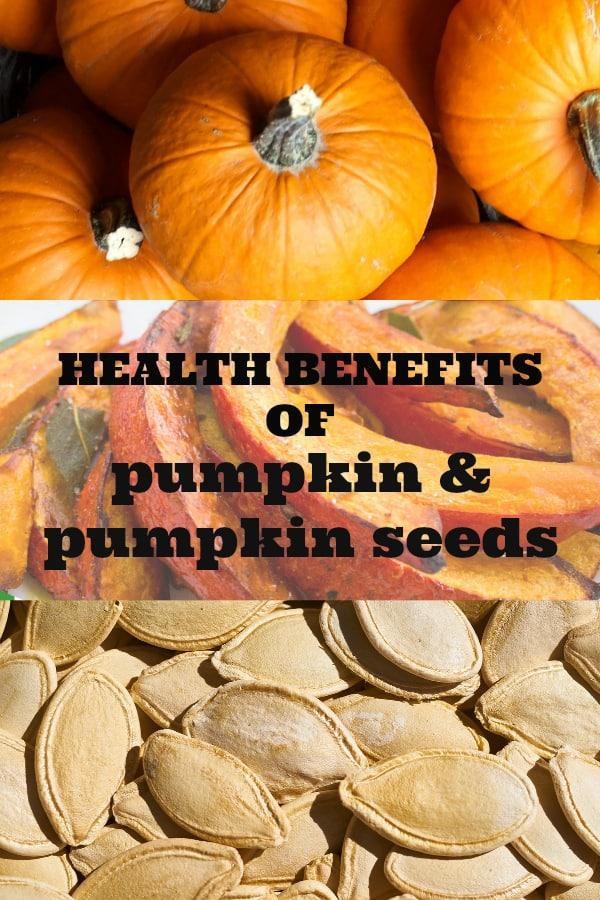 pumpkins cooked pumpkin and pumpkin seeds with text overlay health benefits of pumpkin and pumpkin seeds