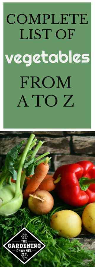 vegetable names