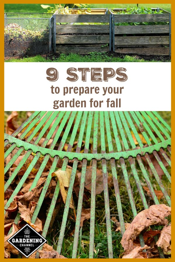 compost bins and rake in lawn with text overlay nine steps to prepare your garden for fall