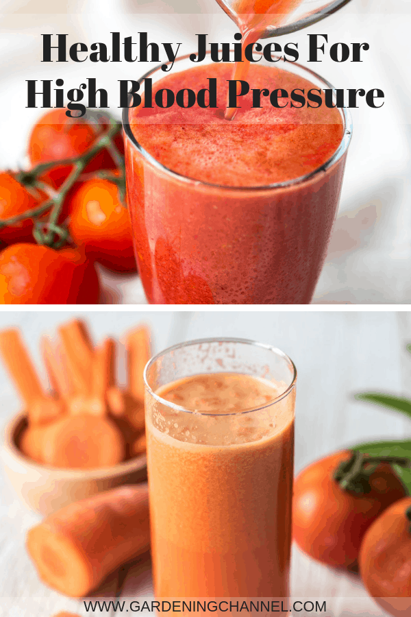 tomato juice and carrot juice with text overlay healthy juice for high blood pressure