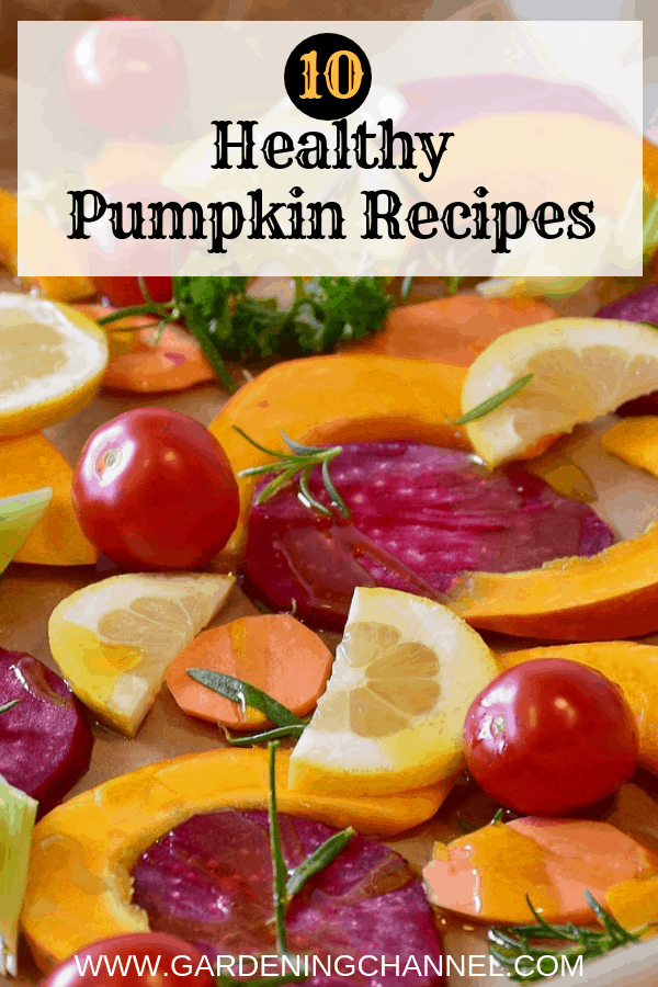 roasted vegetables with text overlay ten healthy pumpkin recipes