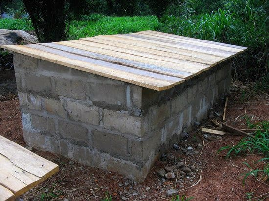 cinder block compost bin