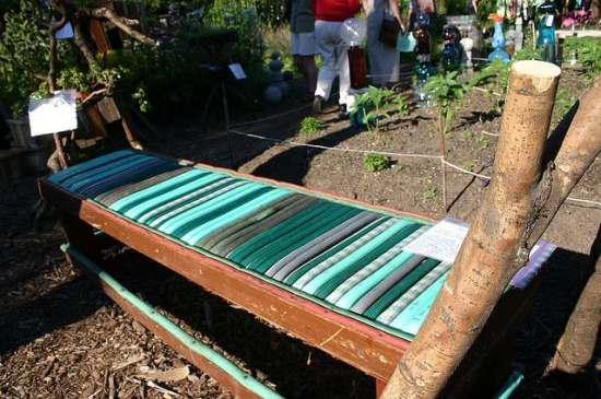An awesome bench made of garden hoses