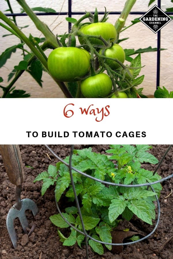 tomato cages in garden with text overlay 6 ways to build tomato cages
