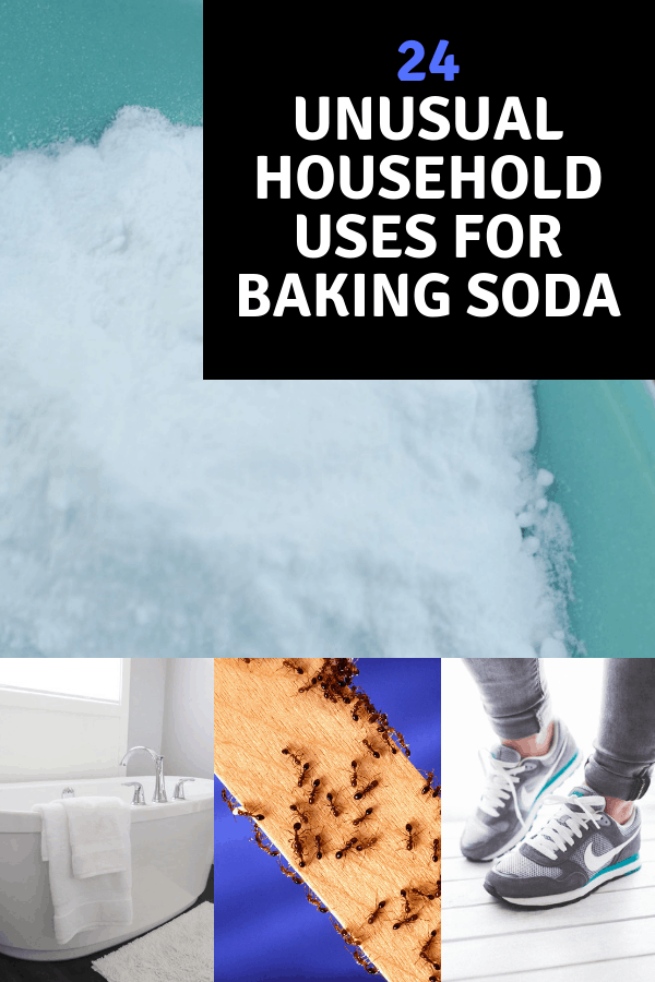 baking soda bathtub ants shoes with text overlay 24 unusual household uses for baking soda