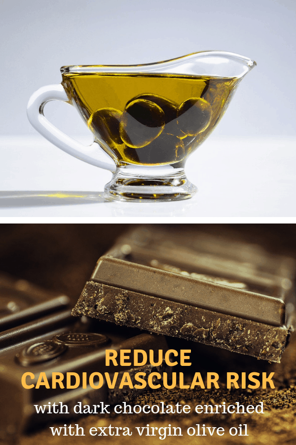 olive oil and dark chocolate with text overlay reduce cardiovascular risk with dark chocolate enriched with extra virgin olive oil