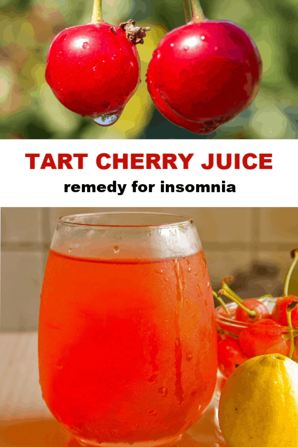 sour cherries and tart cherry juice with text overlay tart cherry juice remedy for insomnia