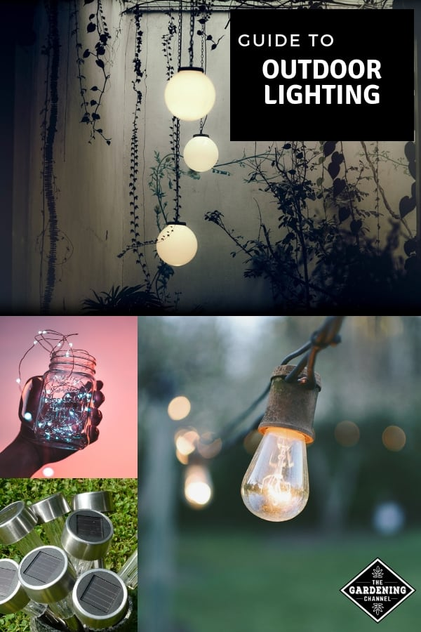 garden and patio lighting with text overlay guide to outdoor lighting