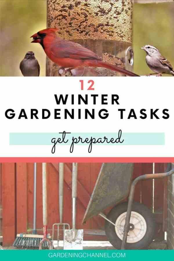 bird feeder gardening tools with text overlay twelve winter gardening tasks get prepared