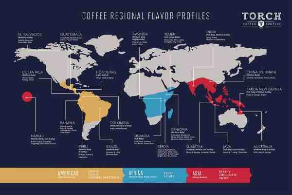 Coffee growing regions map