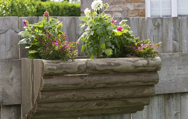 Rustic wooden wall planter