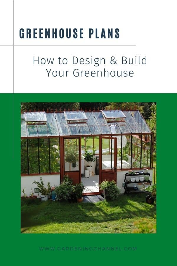 backyard greenhouse with text overlay greenhouse plans how to design and build your greenhouse