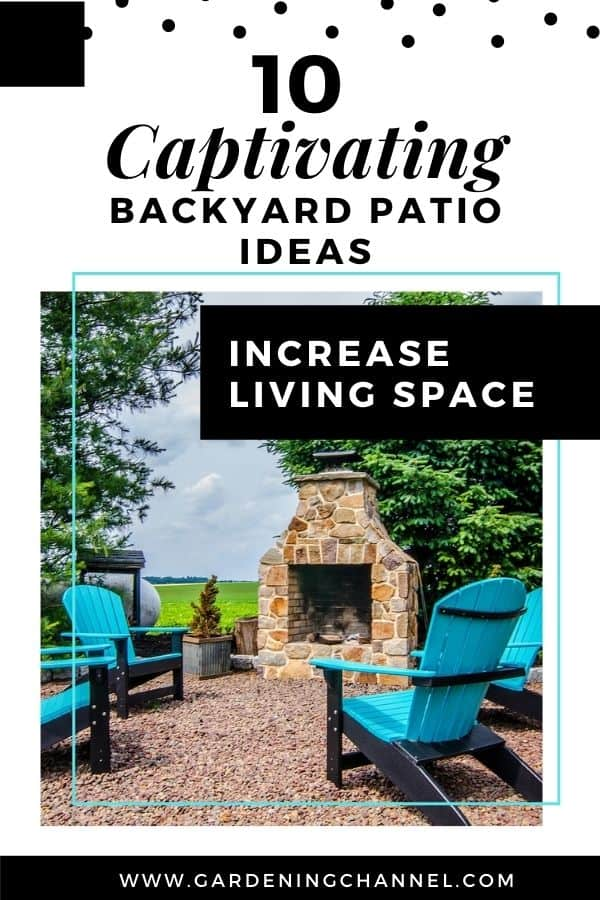 stone patio with text overlay ten captivating backyard patio ideas increase living space