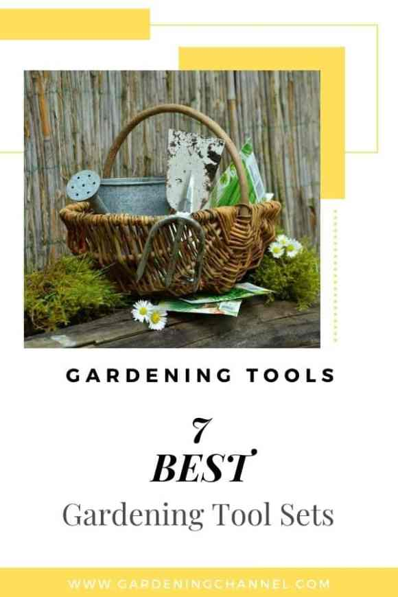 garden tools in basket with text overlay gardening tools seven best gardening tool set