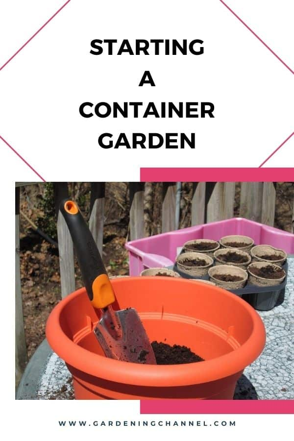 container gardening supplies with text overlay starting a container garden