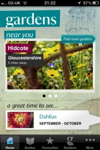 Gardens near you screen shot. Credit National Trust