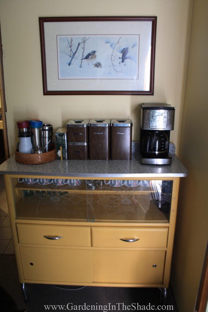 Buffet turned vintage coffee bar