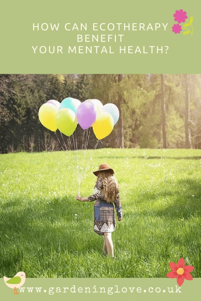 Ecotherepy improves mental health. What can ecotherapy do for your mental health and wellbeing ? A women walks through a field carrying a bunch of balloons. She is calm and carefree as she enjoys the benefits of being out in nature.