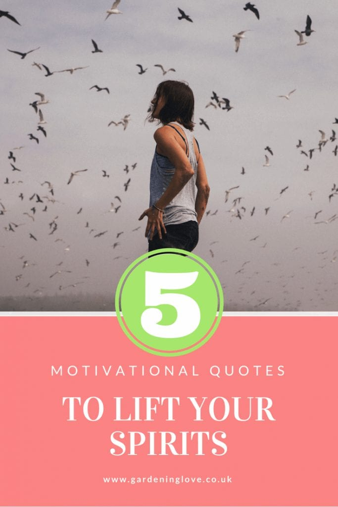 Brunette women outside with a flock of birds above her with text overlay - 5 Motivational quotes to lift your spirits. www.gardeninglove.co.uk