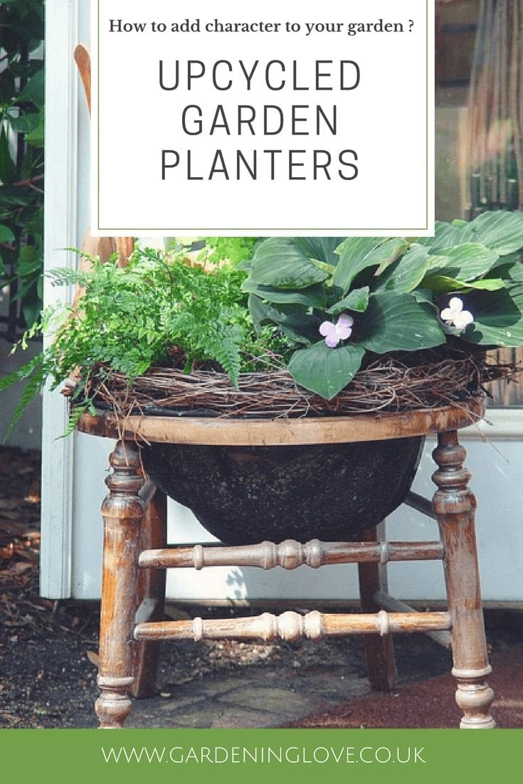 Upcycled garden planters. Add character and personality to your garden. Turn unwanted items into garden treasure. Create plant pots from household items. #gardenupcycle #recycling #ecogardening