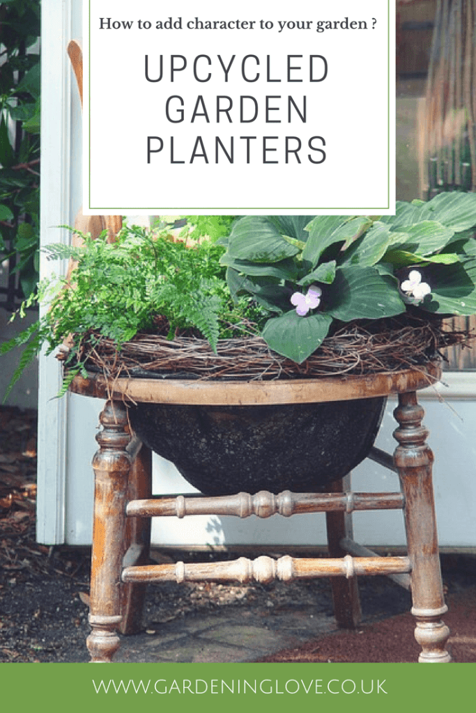 Upcycled garden planters. Add character and personality to your garden. Turn unwanted items into garden treasure. Create plant pots from household items.