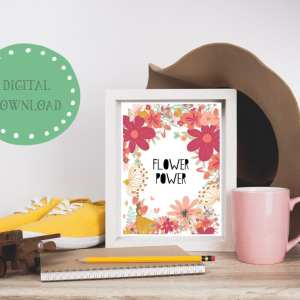 Flower power mockup, printable wall art, digital download