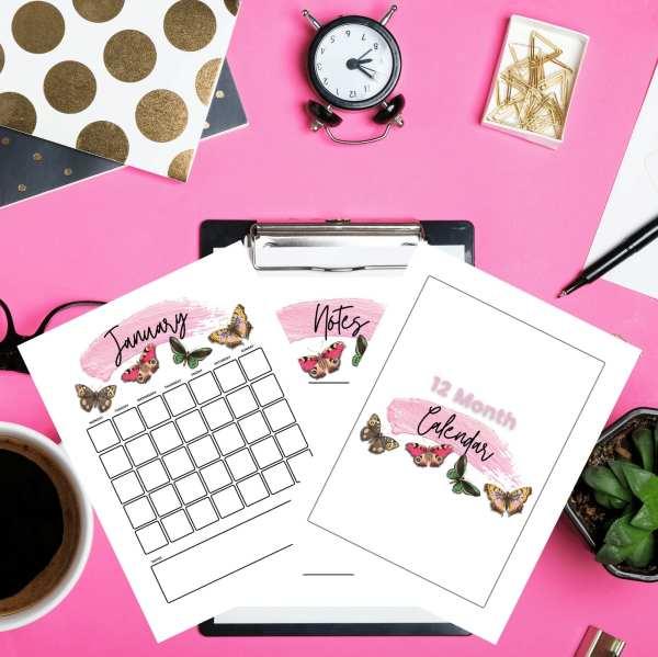 Butterfly Calendar Printable Digital Download