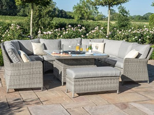 rattan dining sets with fire pit table
