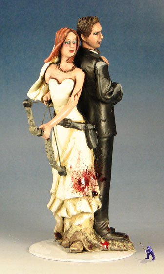 Zombie fighting cake topper  with a bloodied shovel   MiniWarGaming     Image