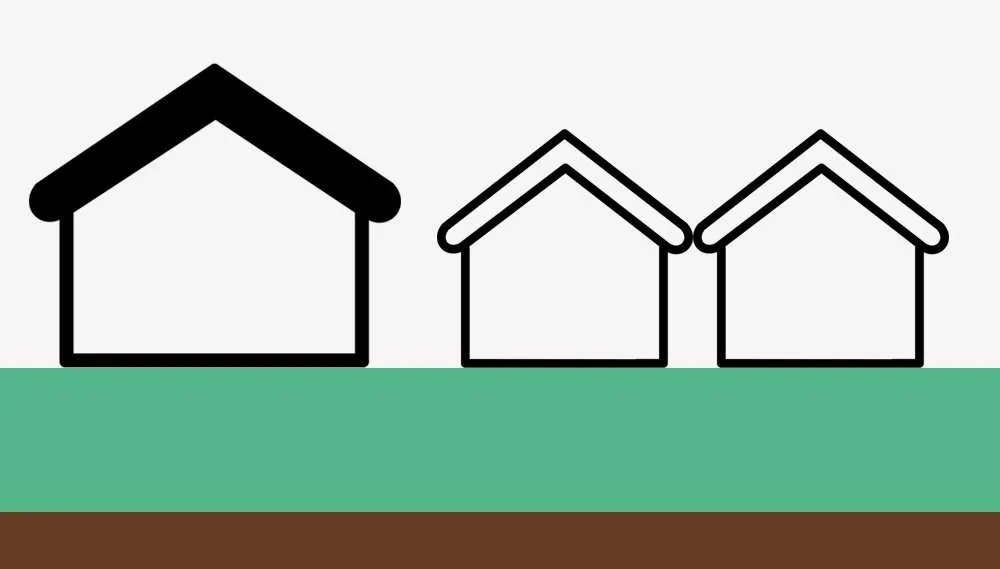 Outbuildings should not exceed 50% of the land around the original house.
