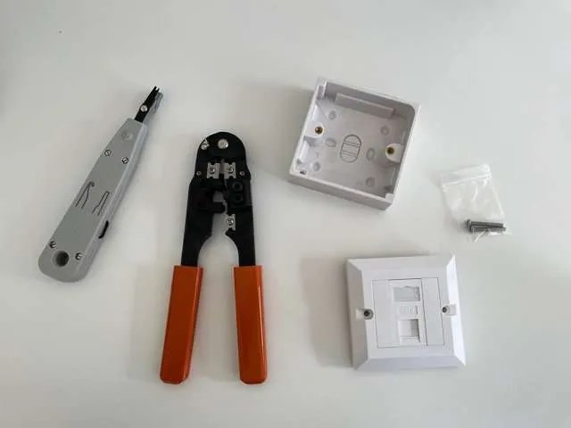 A collection of tools and components we used for our hard-wired ethernet connection.