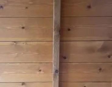 Interior untreated summerhouse wall.
