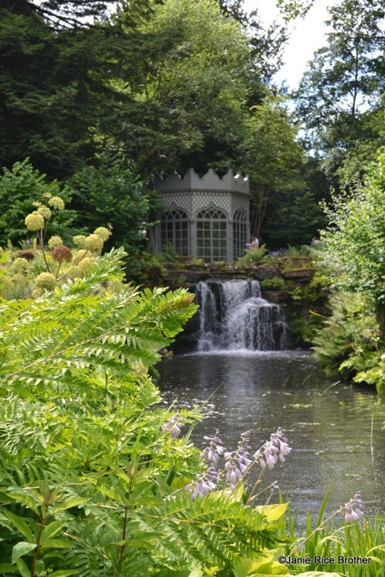 The waterfall and Gothic summerhouse.