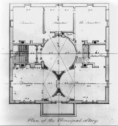 "Latrobe's plan of the ""principal story,"" which we could call the second floor."