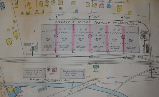 A segment of the Sanborn map showing the Harpring Warehouse.