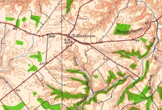 A section of the 15-minute USGS Springdale quad map (1929) showing Tollesboro in Lewis County, Kentucky.