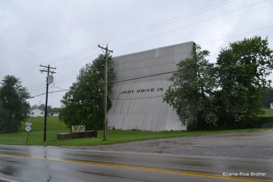 The concrete screen of the Judy Drive-In, Mt. Sterling, Montgomery County, Kentucky, as seen from Route 11.